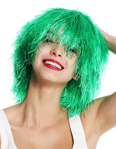 WIG ME UP- MMSLW-K427 Peluca de Mujer Hombre Carnaval despeinada despeluznada como Paja voluminosa Duende Payaso Color Verde