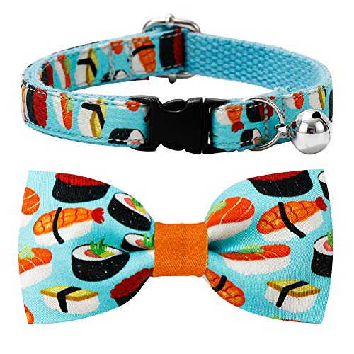 csspet Sushi Cat Collar Bow Tie Breakaway Safety Plastic Buckle, Adjustable Bowtie, Removable Jingle...