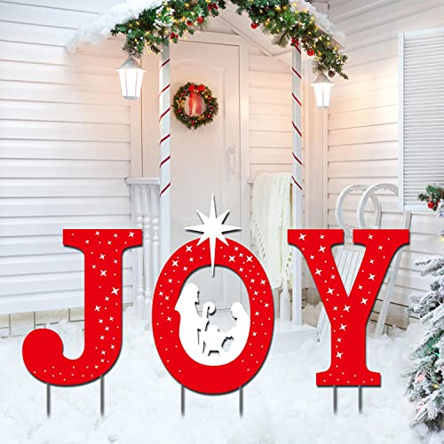 Outdoor Christmas Decorations -JOY Nativity Sets for Christmas Outdoor Xmas Nativity Lawn Religious Scenes Yard Decor with Stake for Home Lawn Pathway Walkway