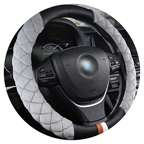 Ablaze Jin Winter Housse de Volant en Cuir Courte pour Voiture 15 Pouces Garde au Chaud Accessoires Auto pour Tous Les Styles de Voitures, SWC019 Gray