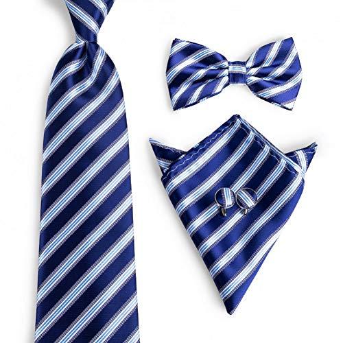 WOXHY Cravate Homme Noeud Papillon Bleu rayé Mode Noeuds Papillon en Soie tissé Bleu Classique Noeuds Papillon Boutons de Manchette Hanky Cravate Ensemble
