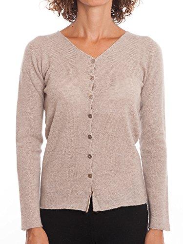 DALLE PIANE CASHMERE - Cardigan zu 100% aus Cashmere, für Damen, Farbe: Beige, Größe: L