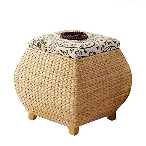 adq Natural Straw Storage Shoe Bench with Cover Storage Stool Finishing Storage Box Wearing Shoes footrest Sofa Square Stool