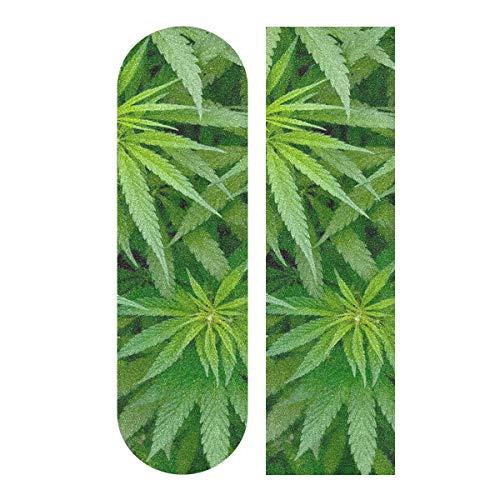 YYZZH Griptape für Skateboard, Motiv: grünes Marihuana-Pflanze, Cannabisblatt, 22,9 x 83,8 cm, rutschfestes Schleifpapier, Longboard, Scooter, Griptape, Blatt Aufkleber