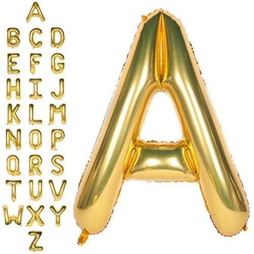 CHANGZHONG Große Mylar Folie Helium Brief Luftballons 40 Zoll Gold Luftballons Alphabet Buchstaben für Geburtstag Brautdusche Jubiläumsdekorationen(Letter A)