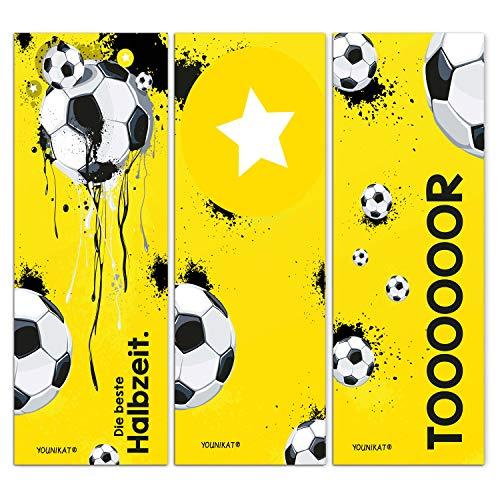 younikat 12er Set Fußball-Lesezeichen I 3 Coole Motive I für Kinder Jungen I Einschulung Schulanfang Schultüte I dv_649