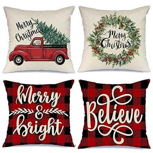 ASDQW Christmas Cushion Covers,4Pcs Soft Square Pillow Case With Christmas Tree Wreath Printed Red Cushion Covers For Garden Bedroom Christmas Home Decorative,70X70Cm