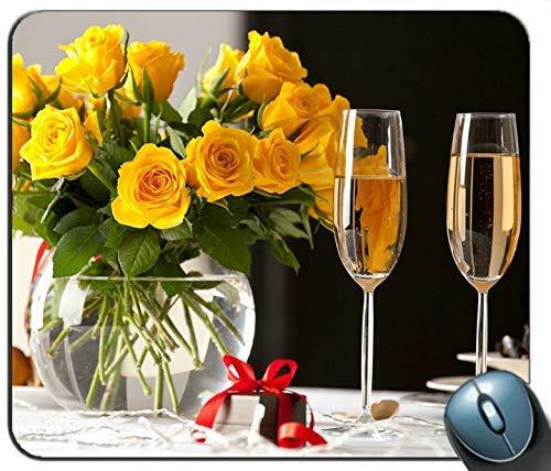Yellow Roses Bouquet Vase Zwei Tassen Champagner Geschenk Mousepad Gaming Rechteckige Mauspad