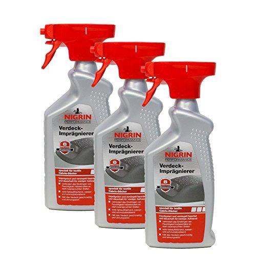 Nigrin 3X 74183 Performance Verdeck-Imprägnierer 500 ml
