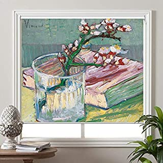 PASSENGER PIGEON Blackout Window Shades, Blossoming Almond Branch in a Glass with a Book, by Vincent Van Goah, Premium UV Protection Custom Roller Blinds, 20