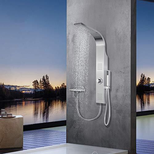 Elbe® Duschpaneel ohne Armatur mit 3 Funktionen, Duschsystem aus gebürstetes Edelstahl 304, mit 2 x Massagedüsen, Regendusche und Handbrause