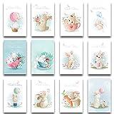 Osterkarten 12-er Set aufklappbar mit 12 passend bedruckten Umschläge