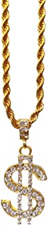 18K Gold Rope Chain for Men with Dollar Sign Pendant Iced Out Necklace for Rapper, Sparkling Dollar Symbol Gold Chain for Rap Gangsta, 24 inches