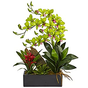 Nearly Natural Dendrobium Orchid and Bromeliad Silk Arrangement, Green