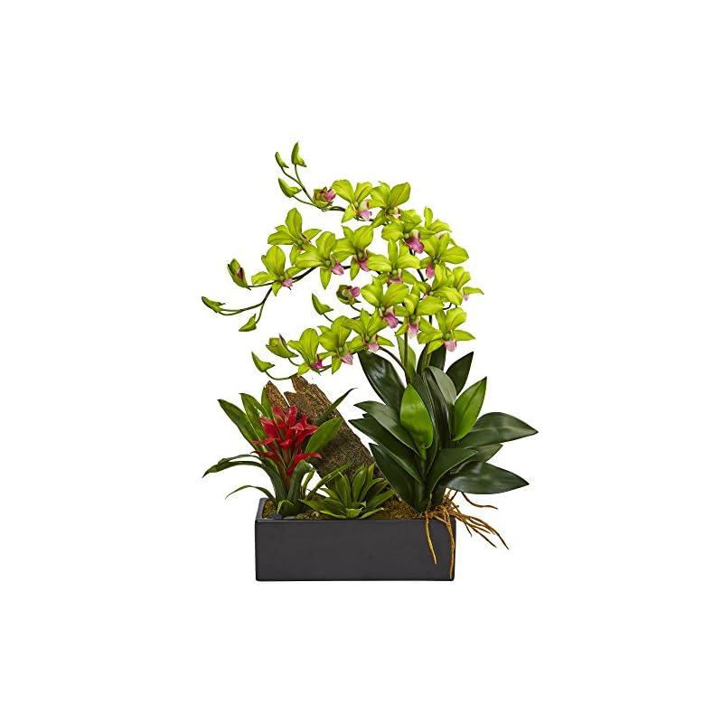 silk flower arrangements nearly natural 1 dendrobium orchid and bromeliad silk arrangement, green