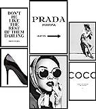 Papierschmiede Mood-Poster Set Coco Schwarz-Weiß | 6 Bilder als stilvolle Wanddeko | 2X DIN A4 und 4X DIN A5 | Glamour Lifestyle Mode - ohne Rahmen