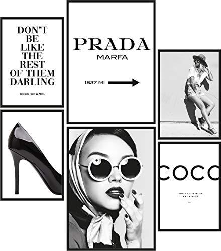Papierschmiede® Mood-Poster Set Coco Schwarz-Weiß | 6 fertig gerahmte Bilder in schwarzen Holzrahmen | 2X DIN A3 und 4X DIN A4 | Glamour Lifestyle Mode