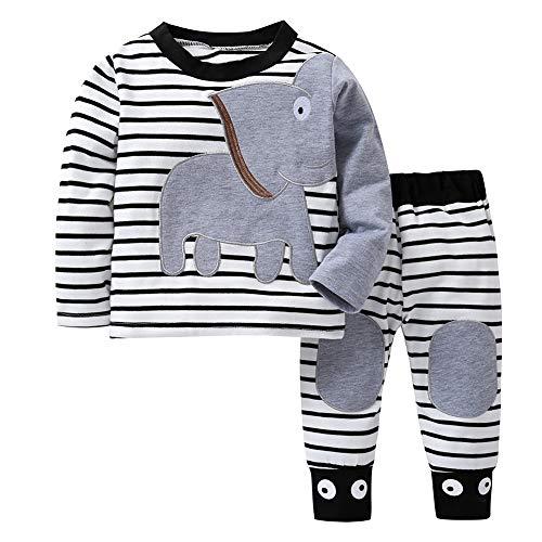 Ensemble de vêtements bébé garçon Chemise à Manches Longues à Rayures éléphant Tenue 2 pièces