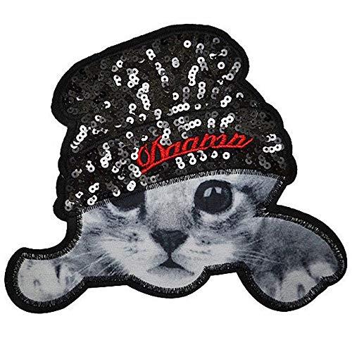 ワッペン 動物 大きい ビッグサイズ スパンコール アイロン接着 アイロンワッペン 縦18.5cm×横21.5cm ねこ ネコ 猫 cat 手芸 入園 入学 デコ ダンス わっぺん WAPPEN アップリケ