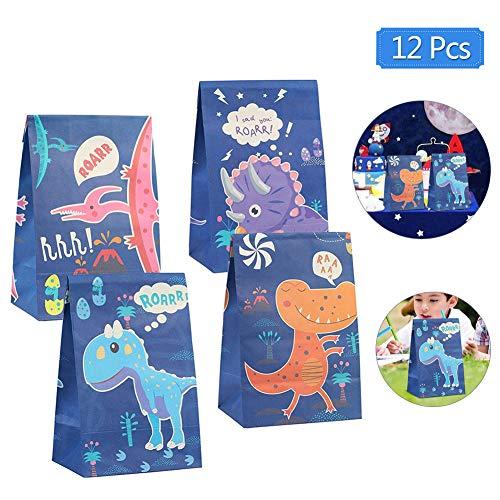 Sunshine smile Dinosaurier Papiertüten,Partytüten Papier,Geschenktüten Dino,Tüten Papier Geschenk,Geschenktüten zum Befüllen,Papiertüten für Kindergeburtstag Mitgebsel