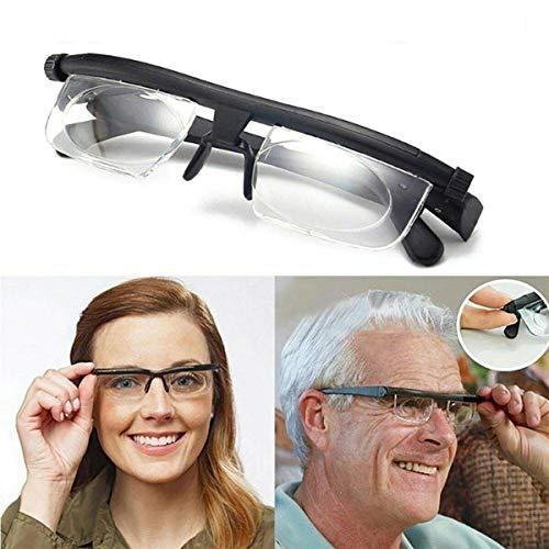 DFJU Gafas, Gafas de Lectura, Lentes Ajustables de Enfoque -6D a + dioptrías 3D, Gafas de miopía, Gafas Unisex, Enfoque Manual