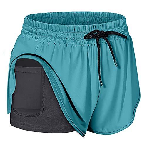 Xniral Damen Shorts Elastische Taille Mini Sports Yoga Shorts, Zweischichtige Jogginghose mit Tasche innen(c-Blau,L)
