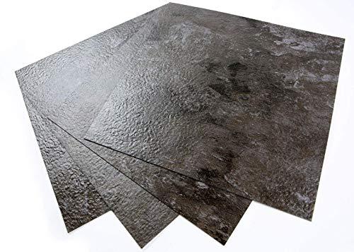 ROSEROSA Peel and Stick Engineered PVC Tiles Metal Pattern Durable...