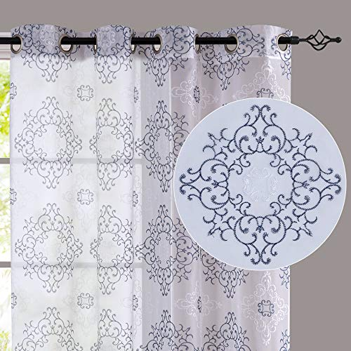 jinchan Embroidered Sheer Curtains for Living Room Embroidery Grommet Top Decorative Curtains Light Filtering Window Treatment Sets for Bedroom 2 Panels 63 Inches Long White & Navy Blue