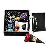 MMJJQWE Conjunto de 8 Cristales curativos de Piedras de Chakra, con racimo de Cristales de Amatista - Tumbled y Pulido, para equilibrar 7 Chakras, Terapia de Cristal, meditación