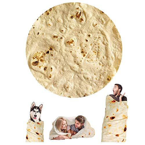 Wenosda Burrito Decke Runde Tortilla Kuscheldecke Zweiseitige Sofadecke Strandtuch Teppich Picknickdecke weich & Plüsch Umhang für Schlafzimmer, Alle Jahreszeiten(150cm/60in)(Gelbe Pfannkuchenart)
