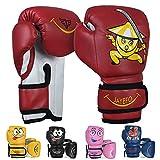 Jayefo Kids Boxing Gloves 4 OZ Training MMA Boys Girls Punching Kick Muay Thai Youth Junior (RED, 6 OZ)