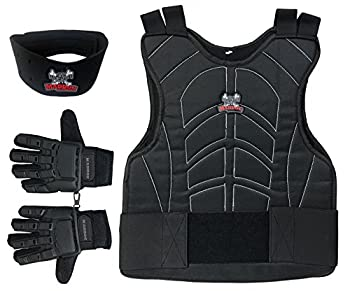 Maddog Sports Padded Chest Protector Full Finger Tactical Gloves & Neck Protector Combo Package - Black - Small/Medium