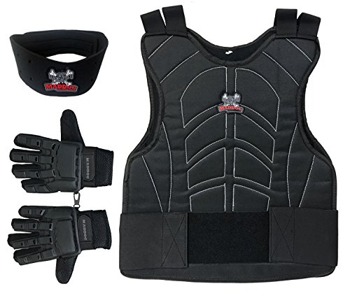 Maddog Sports Padded Chest Protector, Full Finger Tactical Gloves, Neck Protector Combo Package - Black - Large/X-Large