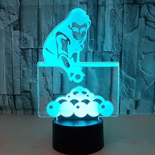 Nur 1 Stück Billard spielen Bunte 3D Nachtlicht Schreibtischlampe Touch Fernbedienung 3D Home Beleuchtung Kreatives Geschenk Billard 3D Tischlampe