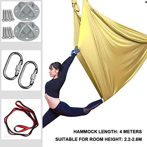 Aerial Yoga Hängematte/Yoga Swing Silk Hammock Fitness Anti Schwerkraft, mit Montagezubehör für Yoga DIY Silk Pilates Premium Aerial Silks...