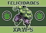 OBLEA de Hulk Personalizada con Nombre y Edad para Pastel o Tarta, Especial para cumpleaños, Medida ...