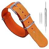 20 mm de una sola pieza correas de reloj de estilo de la NATO perlón de nylon de color naranja luj o de los hombres exquisitos correas textiles