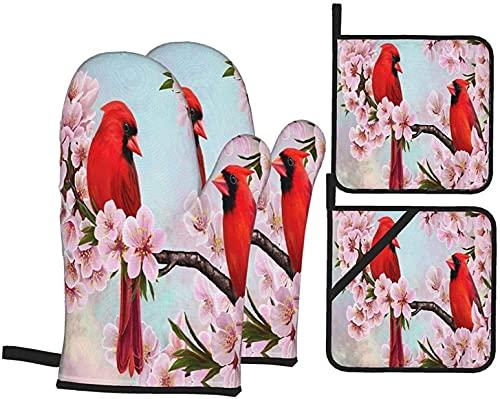 Juego de 4 manoplas y agarraderas para horno, color rojo cardenal, almendras, flores, resistentes al calor, guantes y ollas