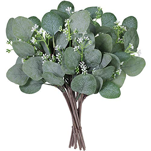 """Supla 10 Pcs Artificial Seeded Eucalyptus Leaves Stems Bulk Artificial Silver Dollar Eucalyptus Leaves Plant in Grey Green 11.8"""" Tall Artificial Greenery Holiday Greens Wedding Greenery"""