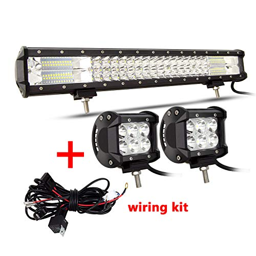 SKYWORLD dreireihig 20 Zoll 288W 10-30V LED-Lichtleiste IP67 Wasserdichte Offroad-LED-Leiste Flutpunkt-Kombinationsbalken für LKW ATV 4x4 + 2 x 18W 4-Zoll-Punkt-LED-Pods Arbeitslicht mit Kabelbaum-Kit