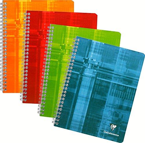 Clairefontaine 68761C - Un cahier à spirale 180 pages 17x22 cm 90g grands carreaux, couverture carte pelliculée couleur aléatoire