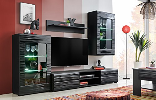 Timber 1 - Mueble de pared para salón (240 cm, luz LED), color negro brillante