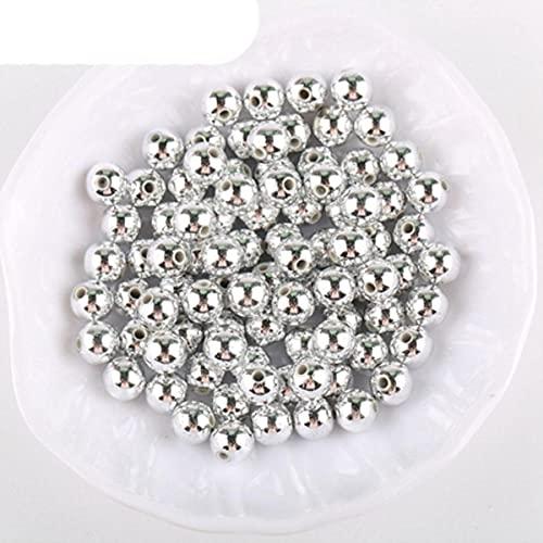 4 mm / 6 mm / 8 mm / 10 mm CCB Cuentas de chapado de acrílico Espaciador de plástico Cuentas redondas para hacer joyas Pulsera Accesorios hechos a mano-C158,8mm 80pcs