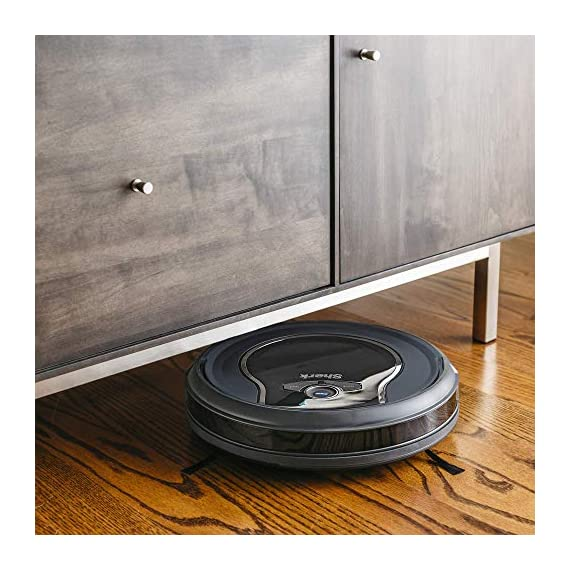 Shark ION Robot App-Controlled Robot Vacuum, RV761 - Black/Navy Blue (Renewed) 2 Schedule cleanings and control robot with Shark Clean(tm) app, Alexa, and Google Assistant. Powerful cleaning with more suction than Shark RV750. Multi-surface brushroll captures debris and hair on carpets and hard-floors.