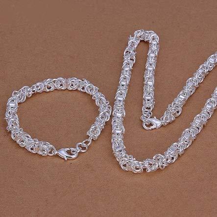 XKMY 925 conjuntos de joyas de plata para mujeres hombres 7mm enlace cadena collar pulsera conjunto joyería de moda joyería al por mayor para las mujeres