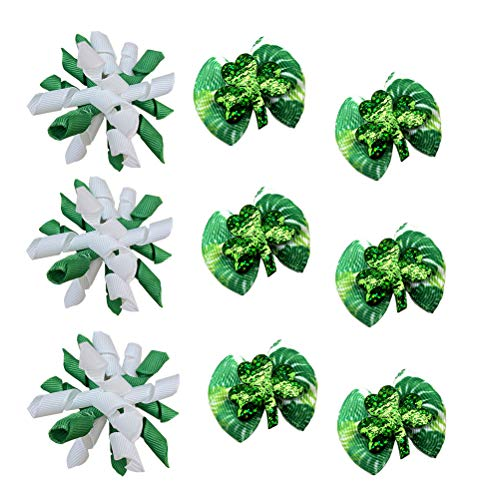 Masue Pets 20pcs/10 Pairs Dog Hair Bows for St. Patrick' s Day Dog Curve Bows Lucky Dogs Green Clovers Dog Bows Dog Grooming Products