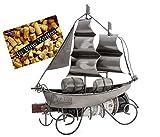 Brubaker Wein Flaschenhalter Segelschiff - Flaschenständer Skulptur aus Metall mit Geschenkkarte - Silber Weingeschenk Höhe 39 cm