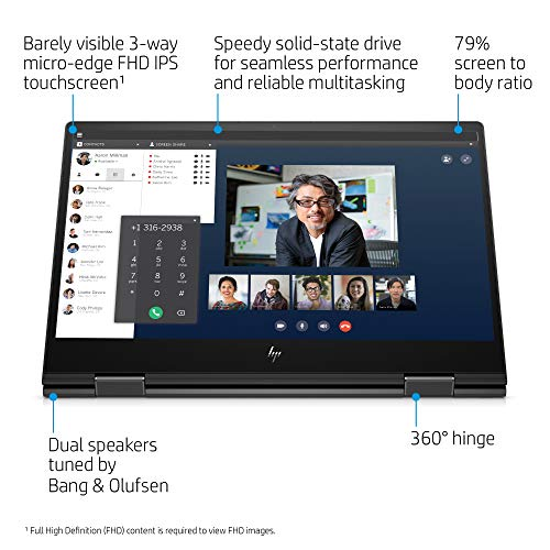 HP Envy 15-inch x360 2-in-1 Laptop, AMD Ryzen 5, 8 GB RAM, 512 GB SSD Storage, Windows 10 Home with Fingerprint Reader and Webcam Kill Switch (15-ds1010nr, Nightfall Black)