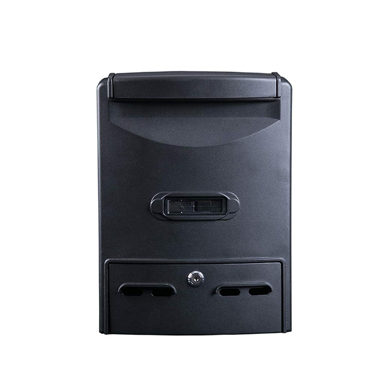 多機能メールボックス ヨーロッパの屋外新聞箱、ヴィンテージ家、壁掛け、メールボックスブラックのロック。