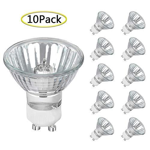 GU10 Halogen Bulb Dimmable, 10 Pack MR16 Light Bulbs 120V 35W Warm White, High Efficiency Halogen Flood Light Bulbs for Indoor, W50MR16/FL/GU10, GU10 Base Bulb for Track&Recessed Lighting